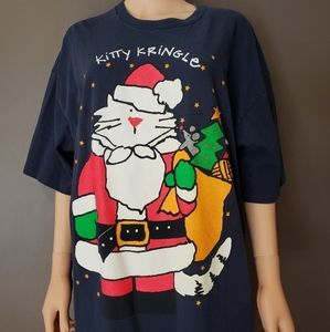 Vintage 90s Ugly Christmas Sweater Tee Cat Cute